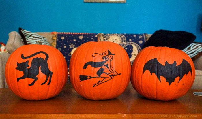 painted retro pumpkins jack o'lanterns