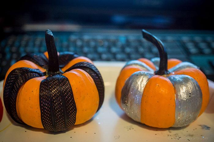 mini decorated halloween pumpins