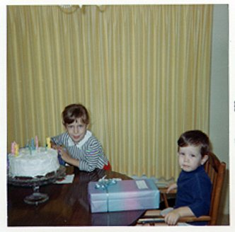 My brother Michael and I sharing a birthday cake in 1967.