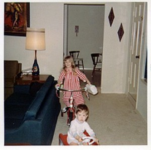 Playing with birthday gifts, 1971