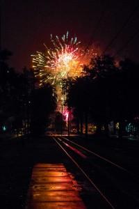 Fireworks in the rain in my neighborhood last night